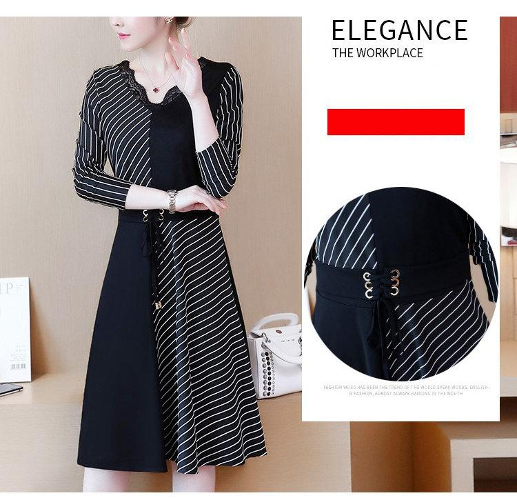 2019 Korean Fashion Women Dress Autumn Large Size Dresses Striped Patchwork Dress Ladies Lace V-Neck Long Sleeve Vestidos Robe Femme (3)