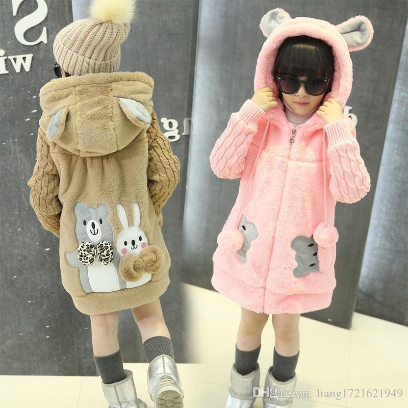 Mädchen 2018 neue Herbst und Winter tragen dicke Wollpullover Kinder langen Mantel Liner Coat