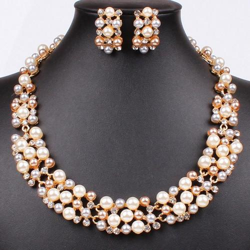 3 pieces of European and American hot pearl gold-plated jewelry necklace earrings set