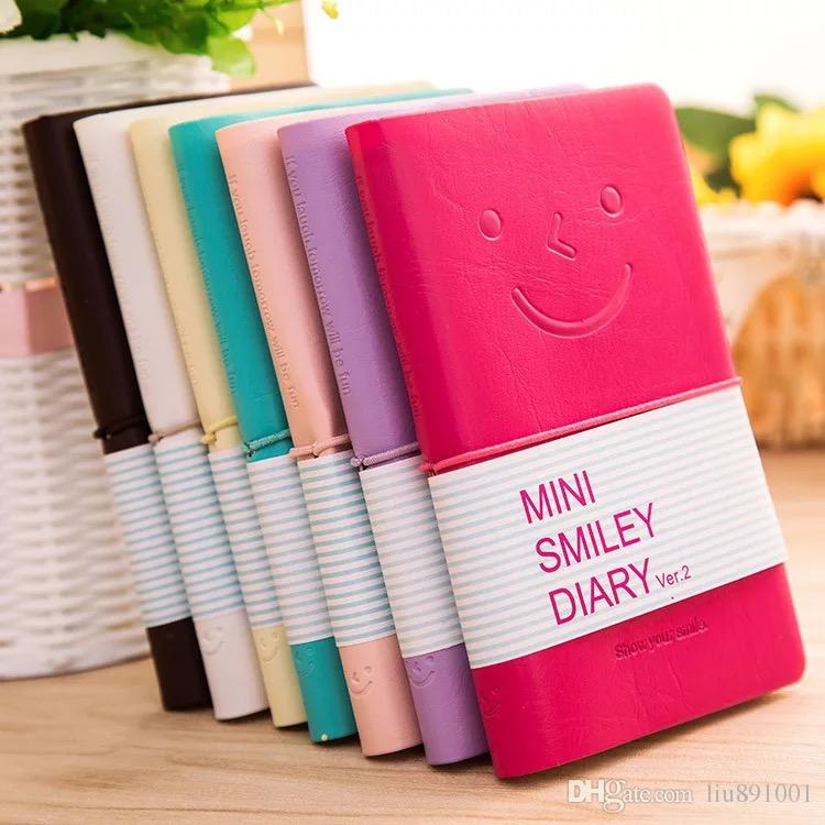 Smiley Diary Notebook Creative Smiley Face Leather Notepad Agenda Journal Travel Mini Note Pads Stationery Promotion Gifts