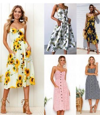 2018 весна и лето, новый шаблон печати платья и платья для женщин завод