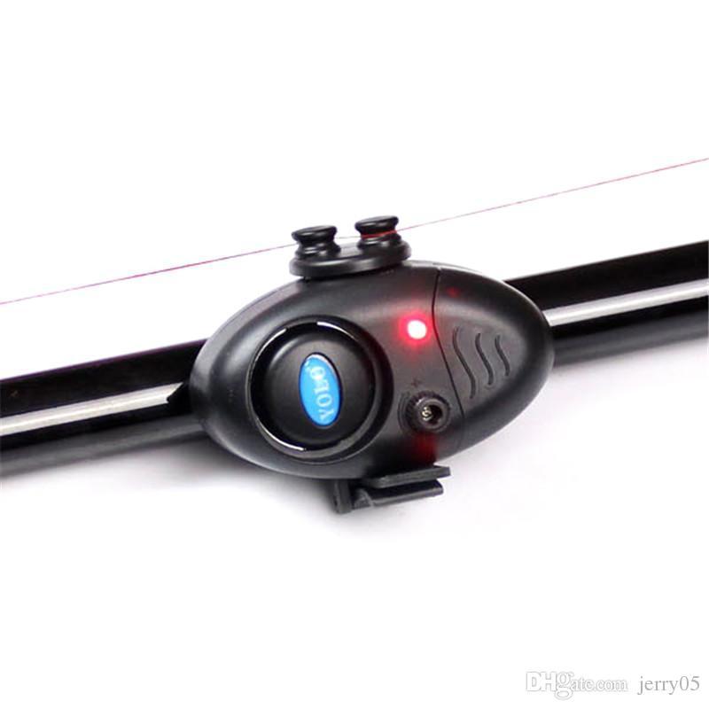 Fishing Electronic LED Light Fish Bite Sound Bell Clip On Fishing Rod Black Tackle