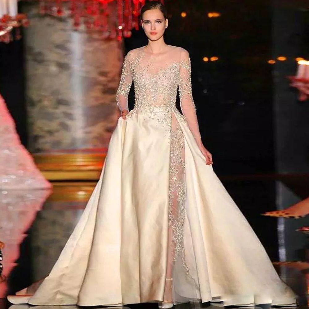 Champagne Elegante una linea di abiti da sposa cappella Jewel Neck lunghe perle manica abito da sposa High Side Split raso lungo abito da sposa