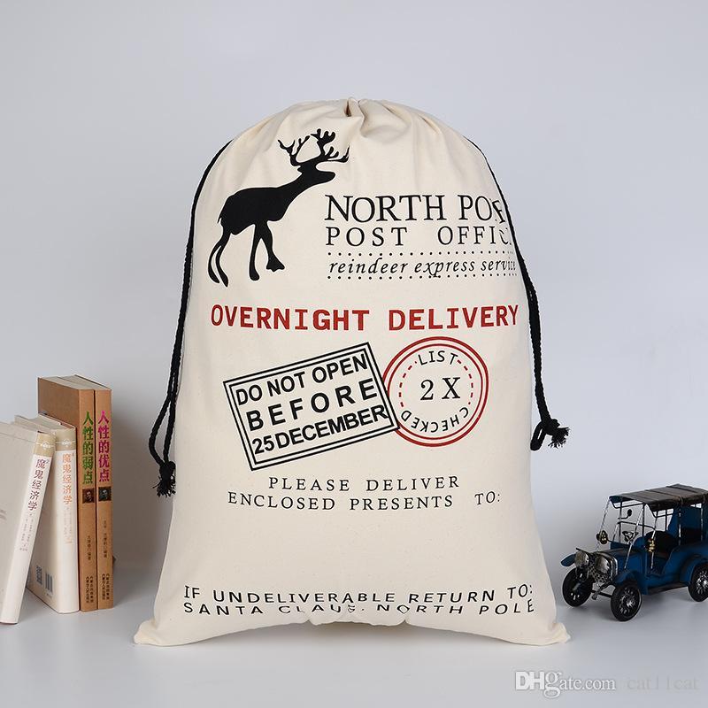 حقيبة هدايا عيد الميلاد سانتا كبيرة 50 * 70 سم قماش سانتا كيس القطن الأيائل الرباط حقيبة حبل