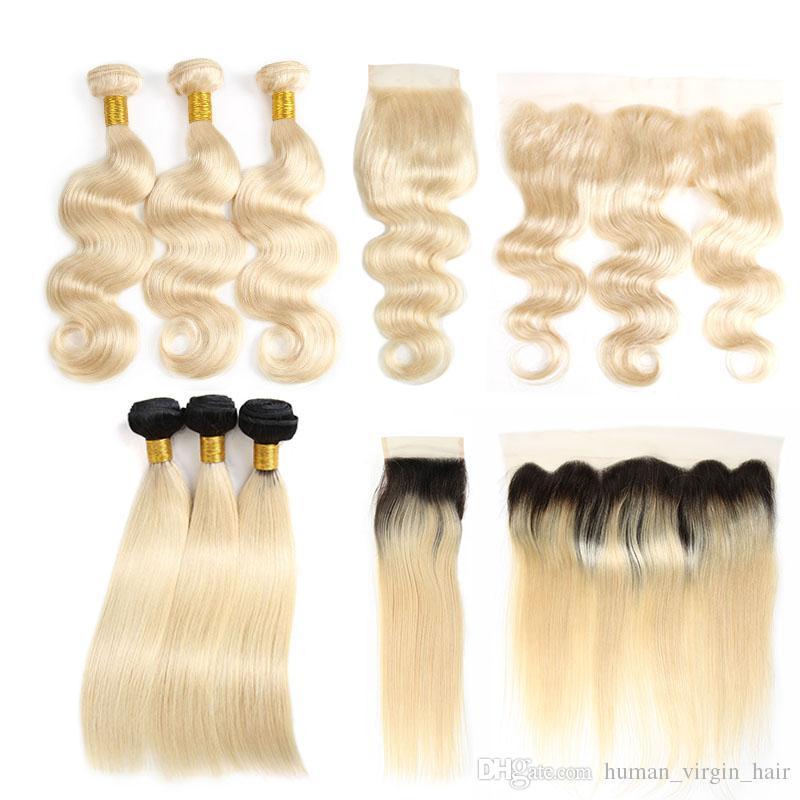Frontal ile brezilyalı Bakire Saç Atkı 1b 613 Düz İnsan Saç Örgüleri Kapakları Ile 613 Sarışın Demetleri Vücut Dalga Remy Saç uzantıları
