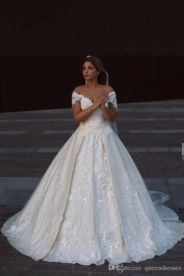 Off Shoulder White Ivory Lace A-line Wedding Dress Bridal Gown All Size Luxury