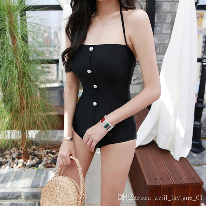 Women Body Sculpting Swimsuit Black Pearl Solids Over The Shoulder Wire Shirred Bandeau One piece Bathing Suit
