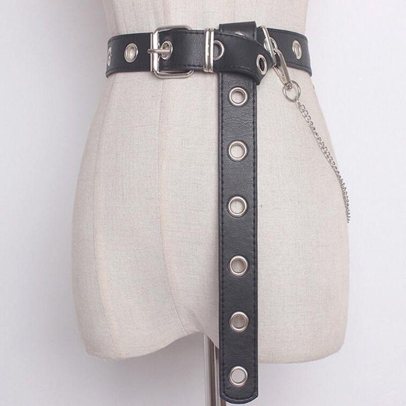 2018 pantaloni cintura vita nappa catena punk hip-hop moda donna cinture moda donna cowboy cintura fibbia in metallo cinturino jeans