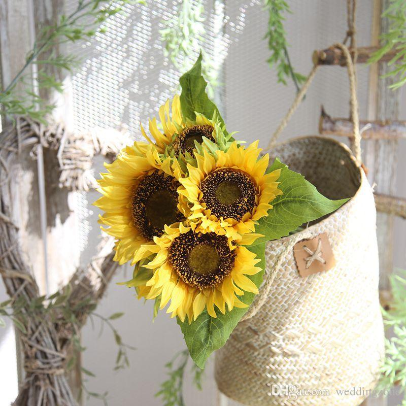 Silk Sunflower 35cm 7 Heads Artificial Bridal Flowers Bouquet Pan Cloth For Wedding/Party/Home Decorations MW22101