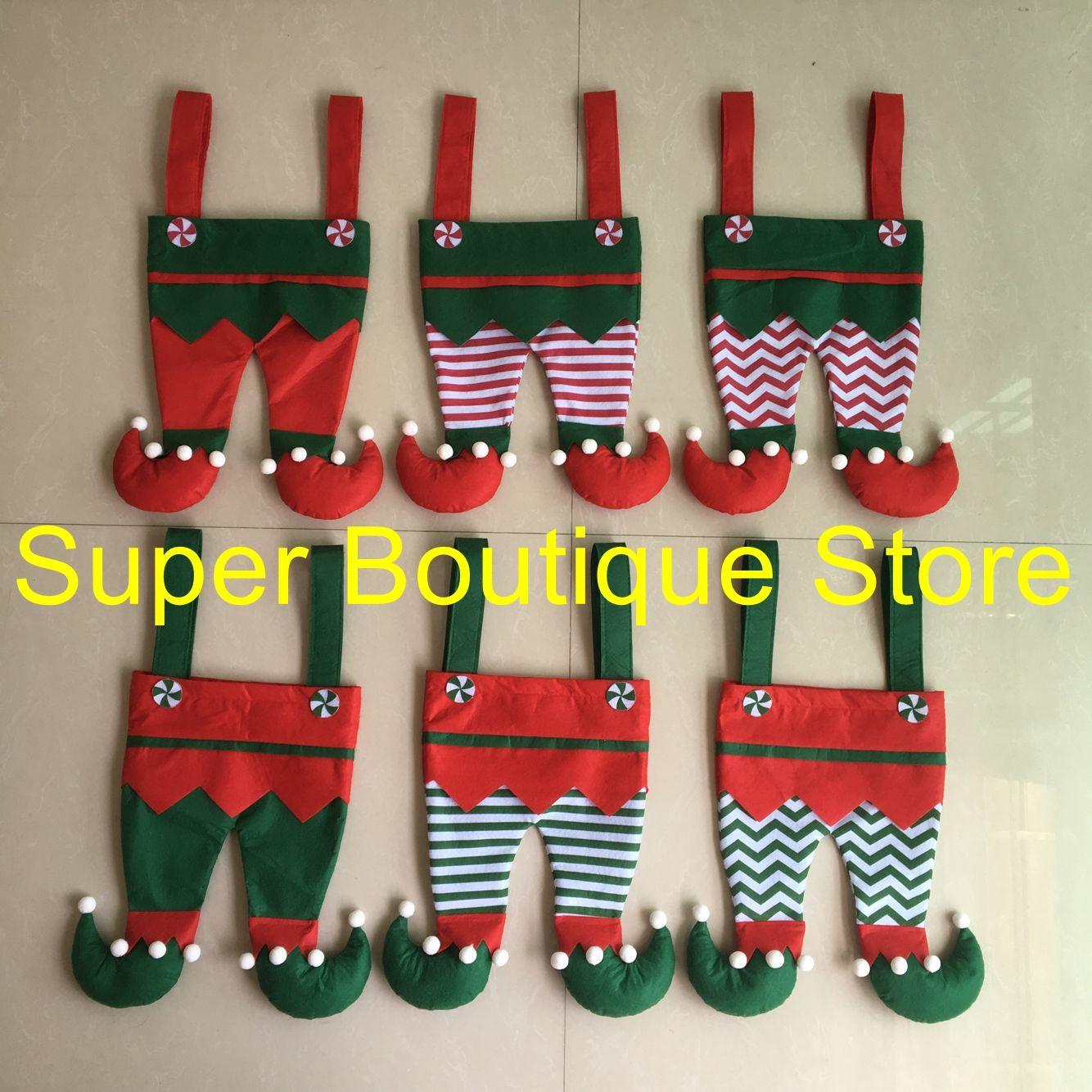 Бесплатная доставка хорошее качество 6 стили смешанные Рождество эльф брюки чулок эльф конфеты мешок Xmas чулок дети подарок мешок для оптовой