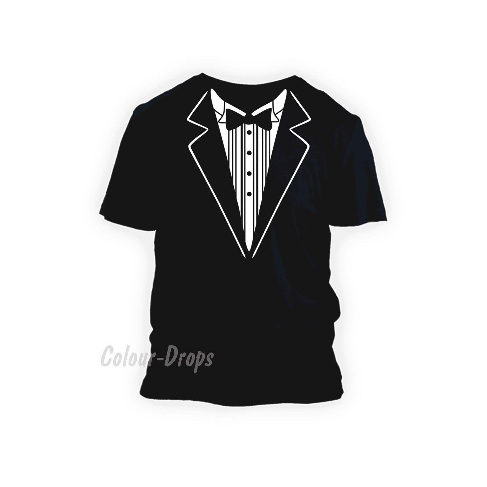 Details zu Tuxedo Suit Bow Tie Funny Fancy Dress Formal wedding Men's Ladies kids T-shirts Funny free shipping Unisex tee