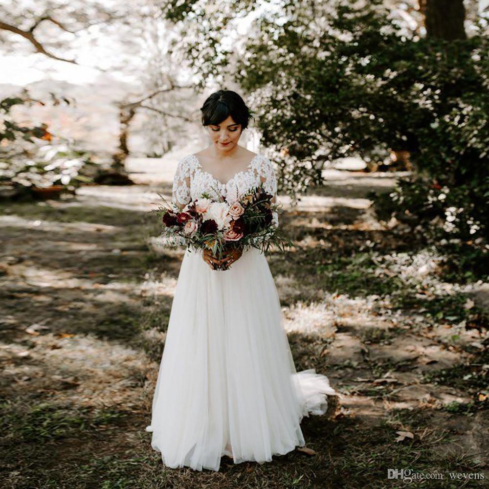 Diseñador Chiffon Garden A Line Vestidos de novia Apliques con cuello redondo Manga larga País Vestido de novia Vestidos de novia de tren capilla sin respaldo