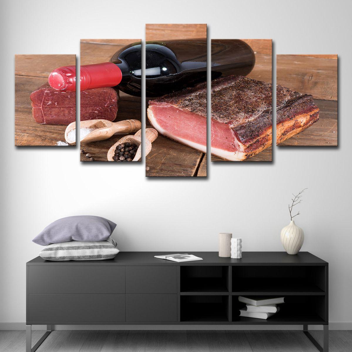 Leinwand HD Prints Bilder Home Decor Zimmer 5 Stücke Rotwein und Fleisch Gemälde Küche Wandkunst Food Restaurant Poster