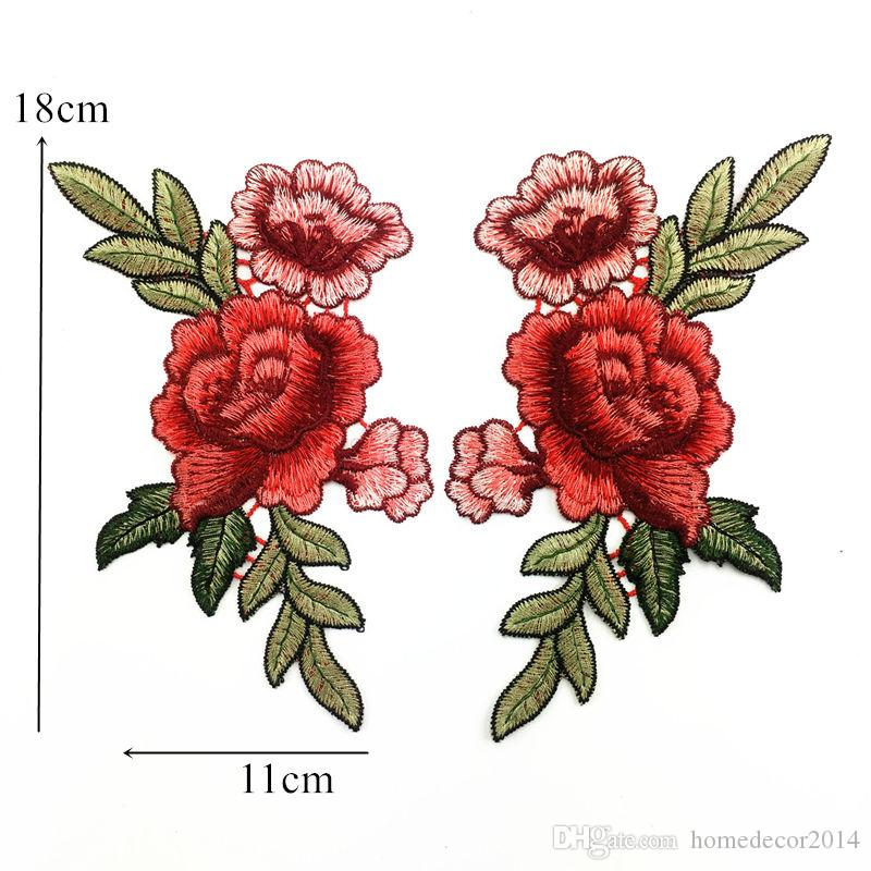 Pair of Flower Embroidered Patches Iron Sew On Floral Patch Badge Craft Applique