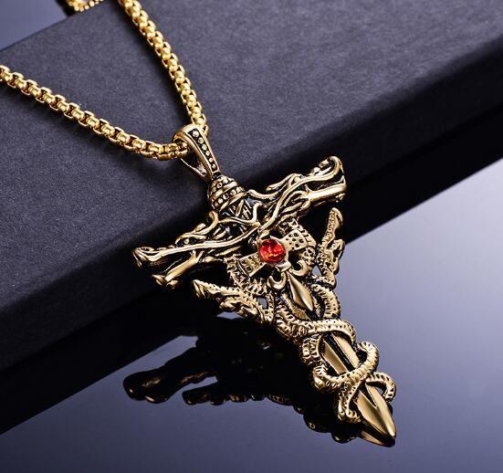 новый Domineering мужчины из нержавеющей стали двойной дракон крест ожерелье стильный набор с кулоном из алмаза титана стали популярны