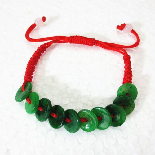 Bracelet de corde de jade de paix de corde rouge de main tissée par main chinoise jade réglable