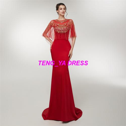 2018 Gentle Glaring Embroidery Beaded Cloak Portrait Style Floor Length Red Mermaid Evening Dress D018