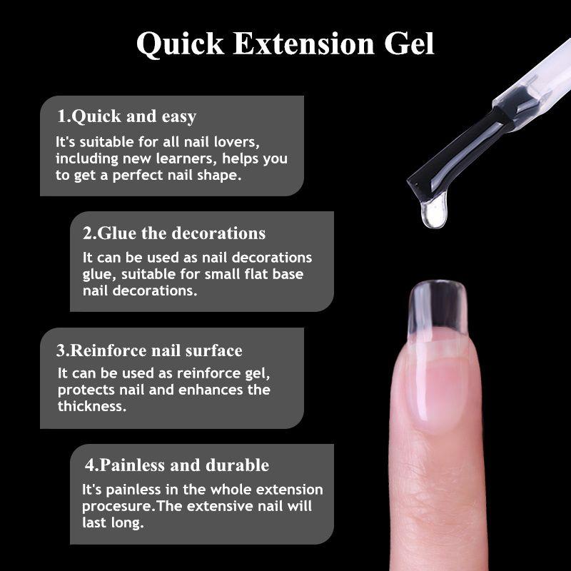 UR SUGAR 3 PCS Trasparente Gel rapido per smalto Gel per ricostruzione UV per unghie Nail Art Poly