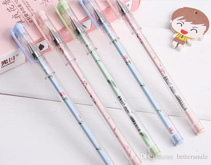 Wholesale gel pen free shippingSmall fresh neutral pen creative pencil needle pen120pcs\lot Black 0.38mm 208