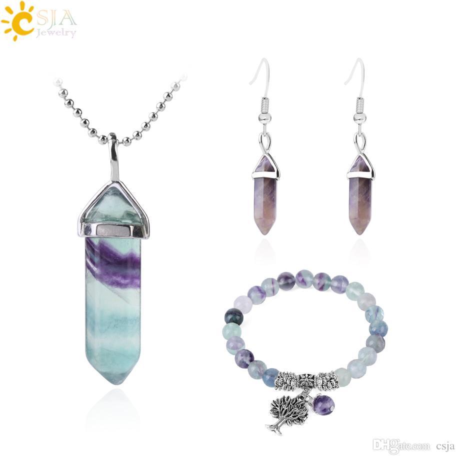 CSJA Healing Point Fluorite Necklace Bracelet Statement Jewelry Set Amethyst Earring Natural Gemstone Quartz Hexagonal Bullet Jewellery F644