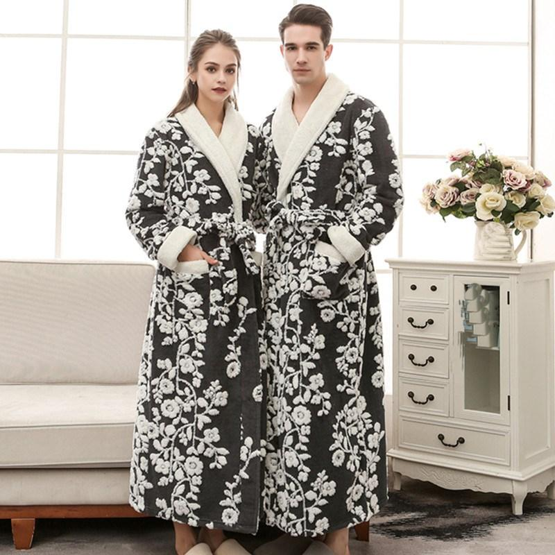 Ladies Fleece Dressing Gown Womens Black Pink Floral Winter Robe Flannel Velvet