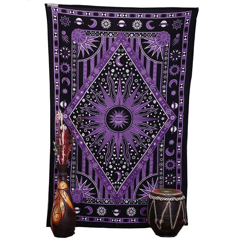 2018 Purple Burning Sun Wall Tapiz Celestial Sun Moon Planet Impreso Mandala Tapices Hippie Bohemio Toalla de playa Wall Art Blanket
