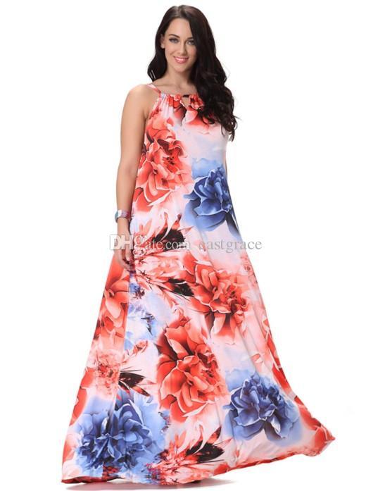 Богемный платья женщины Холтер длинные макси платье цветочный принт повседневная свободные рукавов бохо пляж платье L-6XL