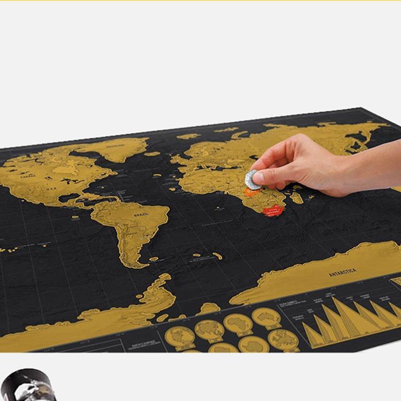 caer cero el envío del mapa del mundo negro para el recorrido r arte del arte la decoración del hogar de la pared cartel de la vendimia y decoración de la habitación de estar