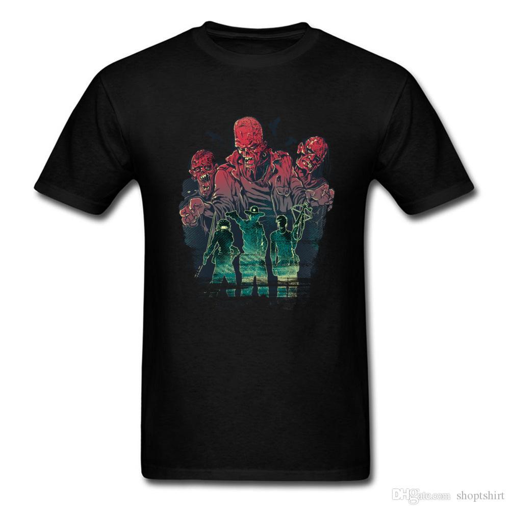 Marca de moda Tops Casual Camiseta de alta calidad Deadly Trio Zombie Print camiseta Cool Geek Movie Theme Tee-Shirt para hombre Cool O-Neck
