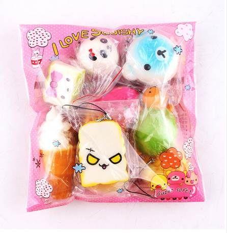 Squishy Slow Rising 10 Pcs / Pack Food Squishes Colgante Dona Charm Anti estrés Kawaii Squishies Elástico Squeeze Juguete