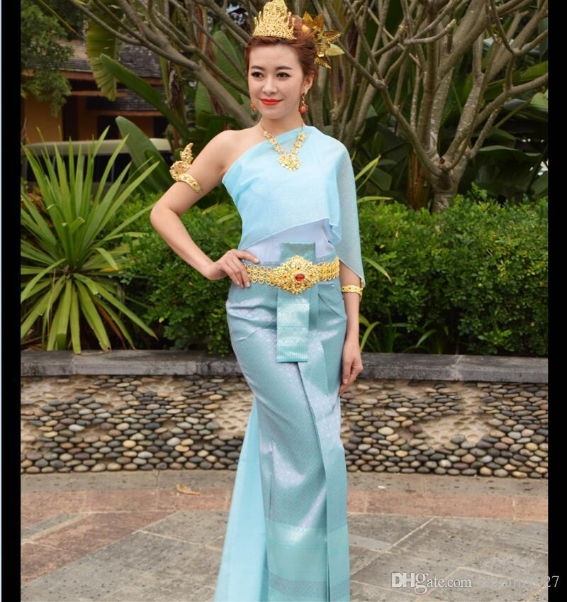 Oriental Thailand Vietnam Laos Dai Songkran Thai traditional clothing overalls welcome light blue slim pageant Beauty clothing