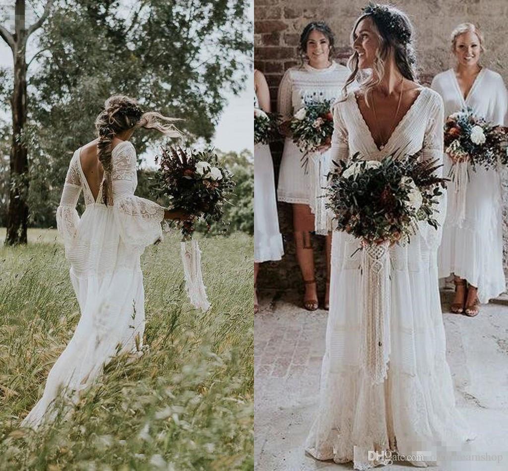 Gwendolyn country 웨딩 드레스 2018 V-Neck crochet 레이스 빈티지 여름 신부 웨딩 드레스 France charming Hot Gelinlik Vestido De noiva