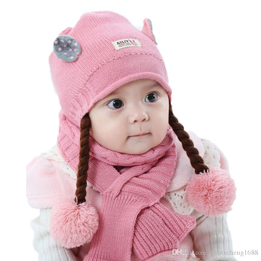 Winter Baby Girl Hat And Scarf Set For Children Cute Ear Kids Ribbed Knit Pom Pom Beanie Cap Scarves Warm Wear 2 Pcs Suit MZ5164