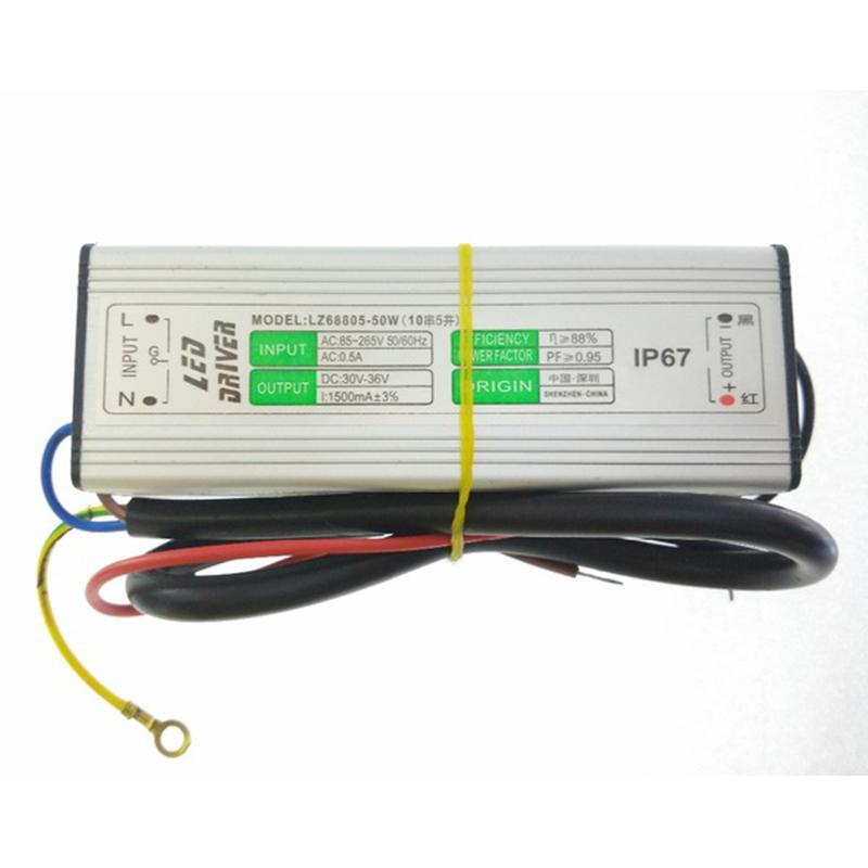 30pcs transformateur d'éclairage LED 50W DC30V 1500mA -36V AC 90-265V LED conducteur d'alimentation étanche IP67