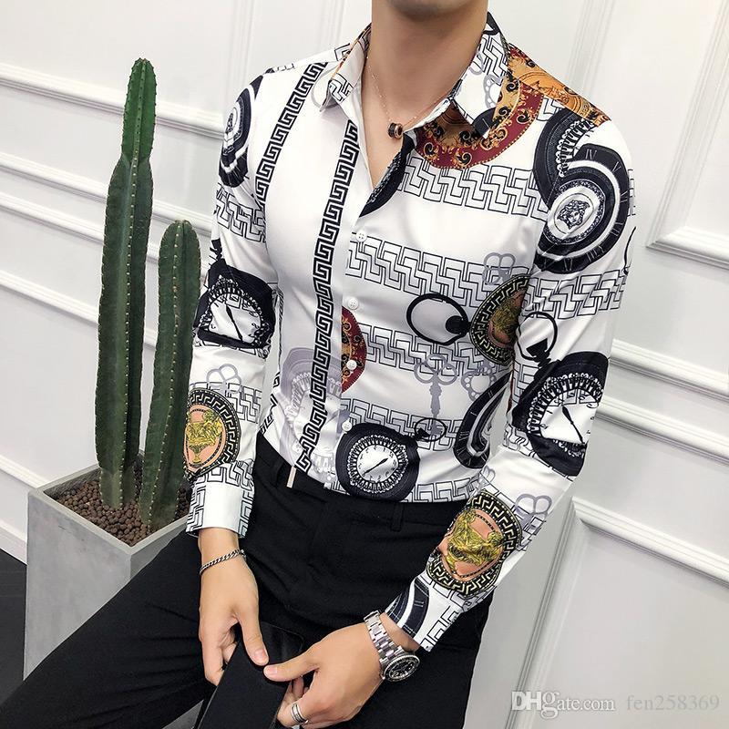 Automne nouvelle tendance florale homme version coréenne de mince imprimé chemise à manches longues hommes scène asymétrique nuit irrégulière