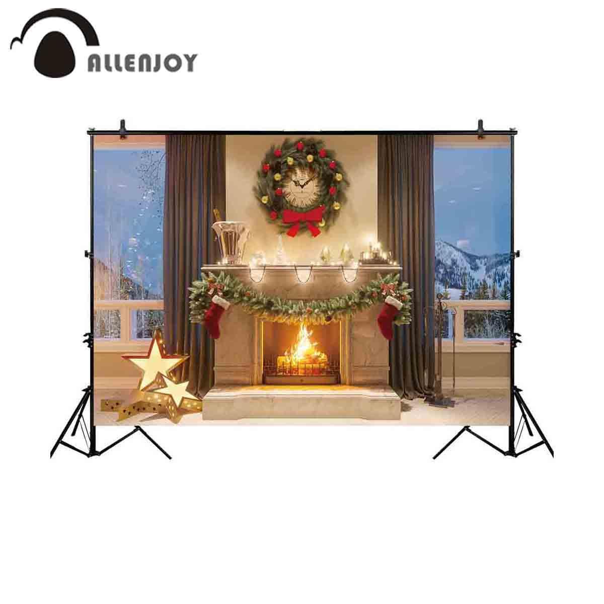 الجملة خلفية للصور الاستوديو عيد الميلاد الموقد اكليلا على مدار الساعة الشتاء نافذة التصوير خلفية صورة المتصل التقطت الصور