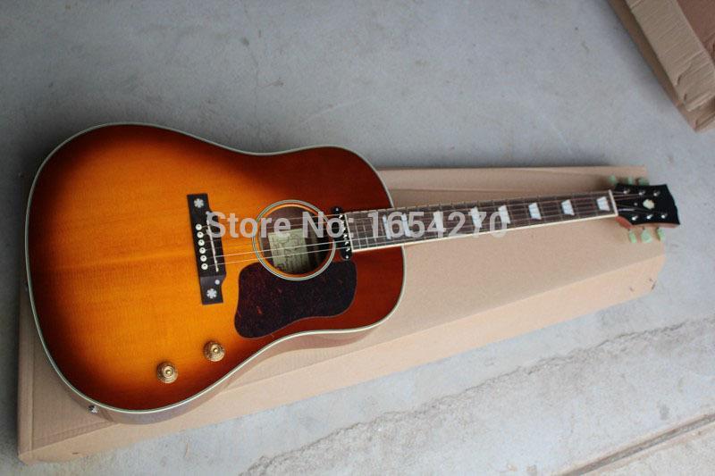 무료 배송 도매 클래식 존 레논 70th J - 160E 어쿠스틱 일렉트릭 기타 체리 썬 버스트 기타 151022