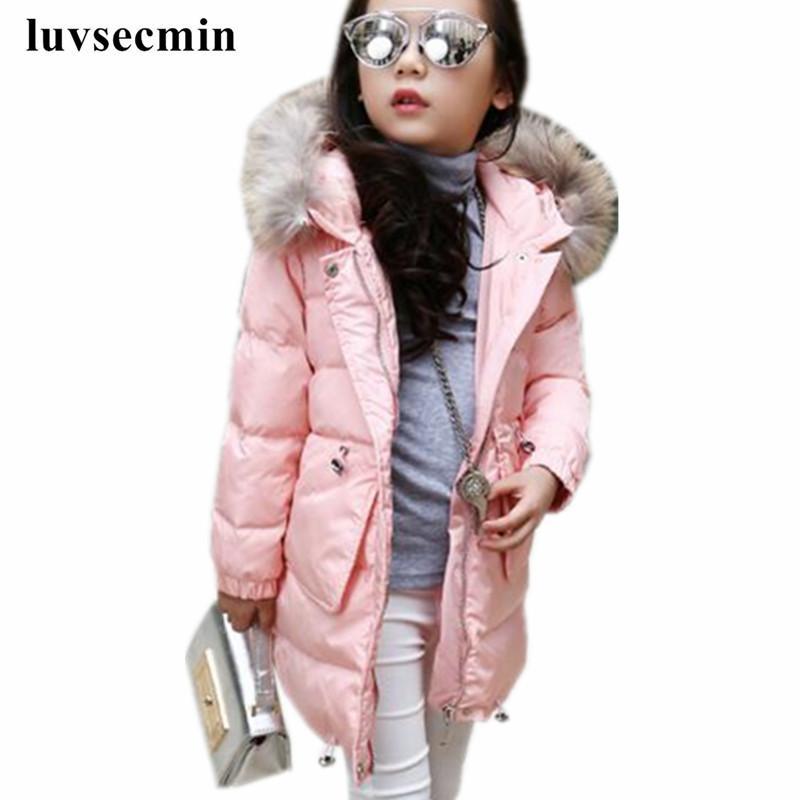 2017 grosso casaco de inverno com capuz de pele quente meninas zipper sólidos magro criança jaqueta de inverno para meninas do bebê crianças de algodão parka para baixo jw0428