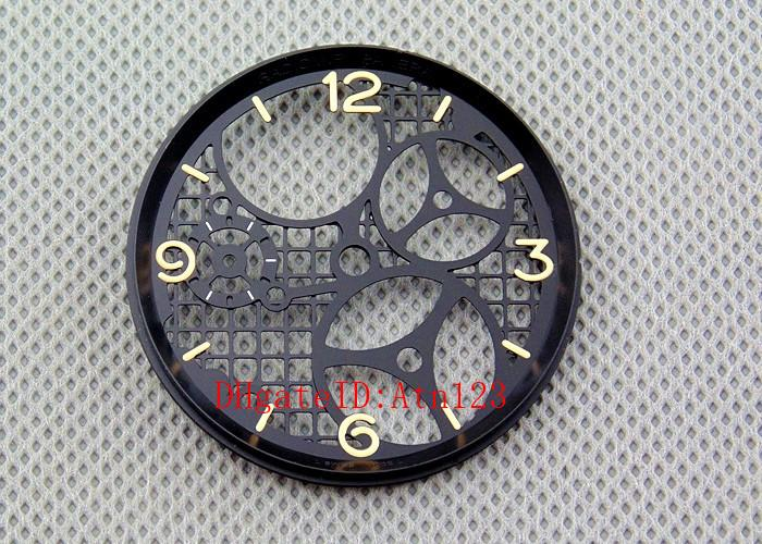 37.5mm Hollow Black Color Wrist Watch Dial Replacement Wristwatch Accessories Fit ETA 6497 ETA6497 Seagull ST3600/3620 Movement P306