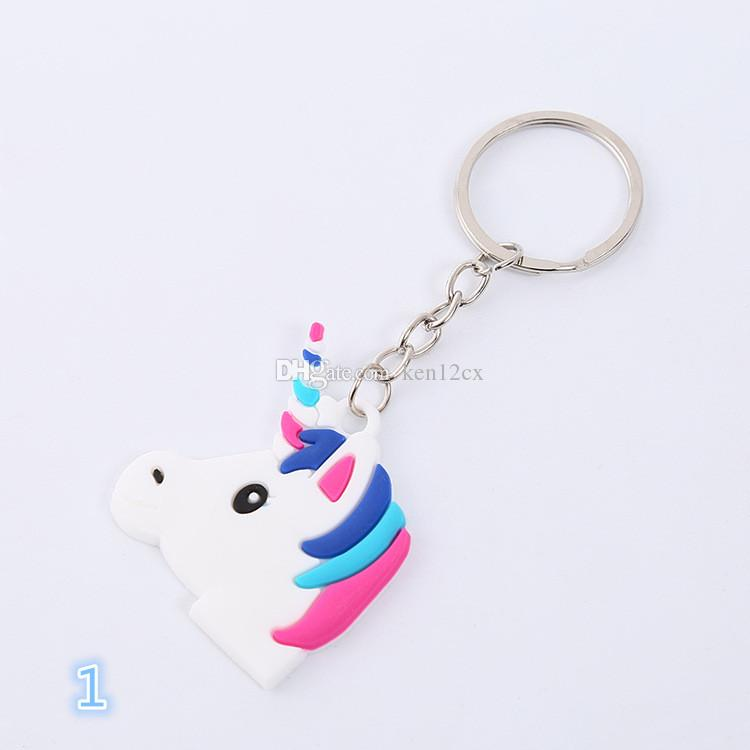 10 X Rainbow Rubber Unicorn Keyring Keychain Bag Charm Party BagGift Cartoon