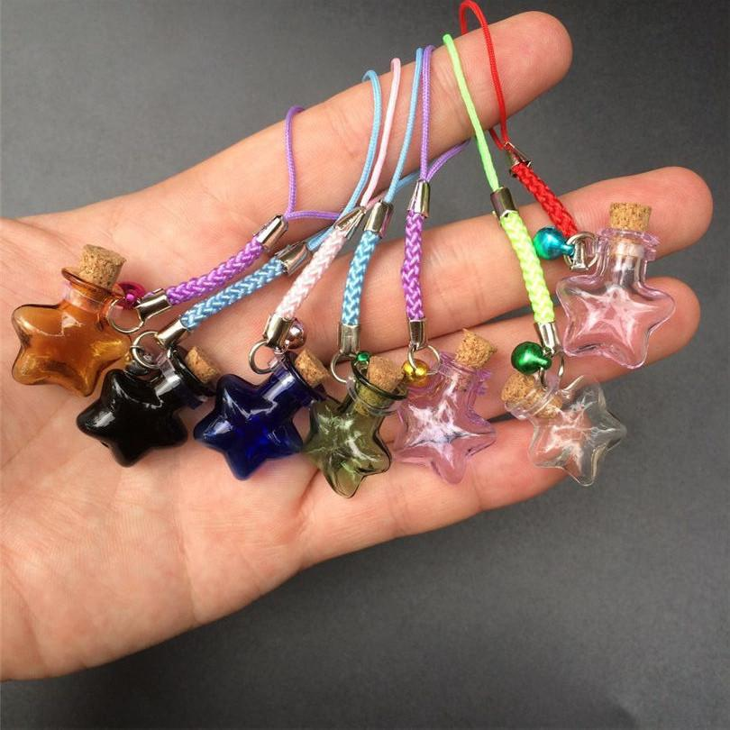 Mini Stars Bottles Crafts with Nylon Rope Key Chains Mini Bracelets Jars Glass BottlesCrafts Mixed Color 7pcs Free Shipping1