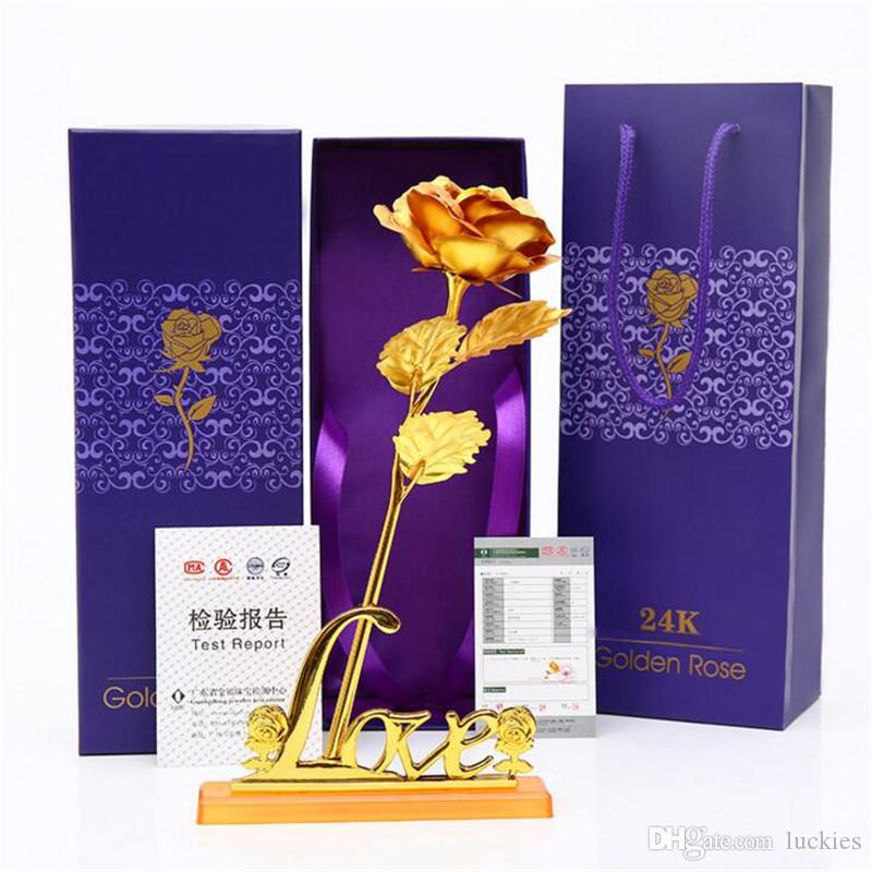 Artificial Gold-Folien-Rosen-Blumen-Dekoration künstliche Rose Blumen in Geschenk-Box für Muttertag Valentinstag Weihnachten Danksagung