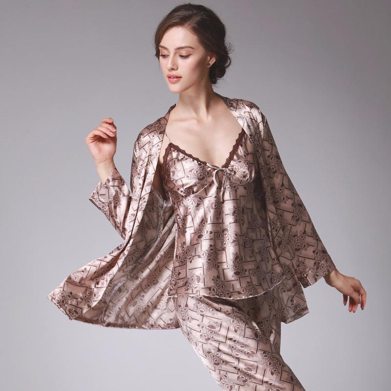 Silk Pyjama Frauen Herbst Langarm Hosen Dreiteilige Casual Home Wear
