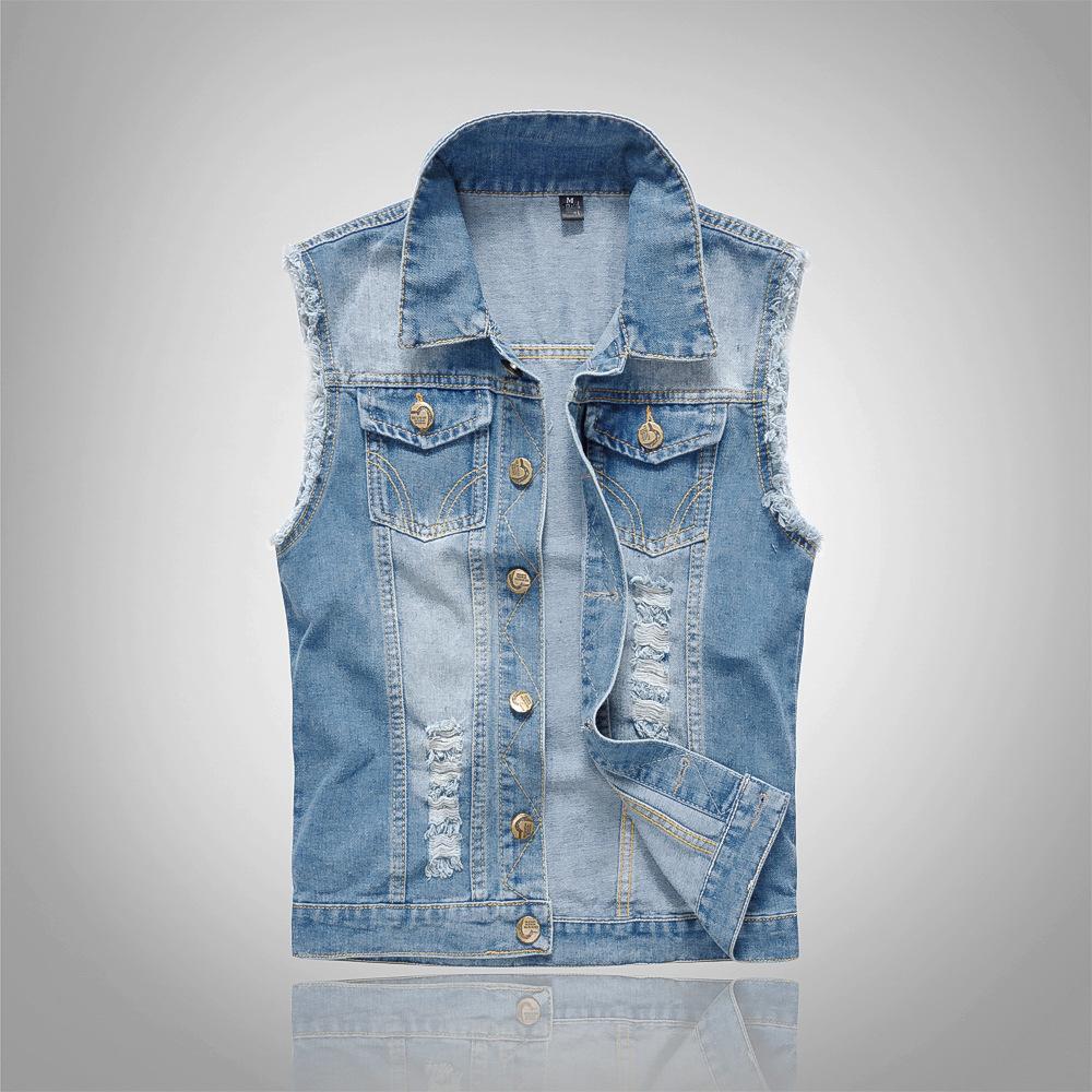 2018 хлопок джинсы без рукавов куртки мужчины плюс размер 6XL темно-синий джинсовые джинсы жилет мужчины Ковбой джинсовый жилет мужские куртки