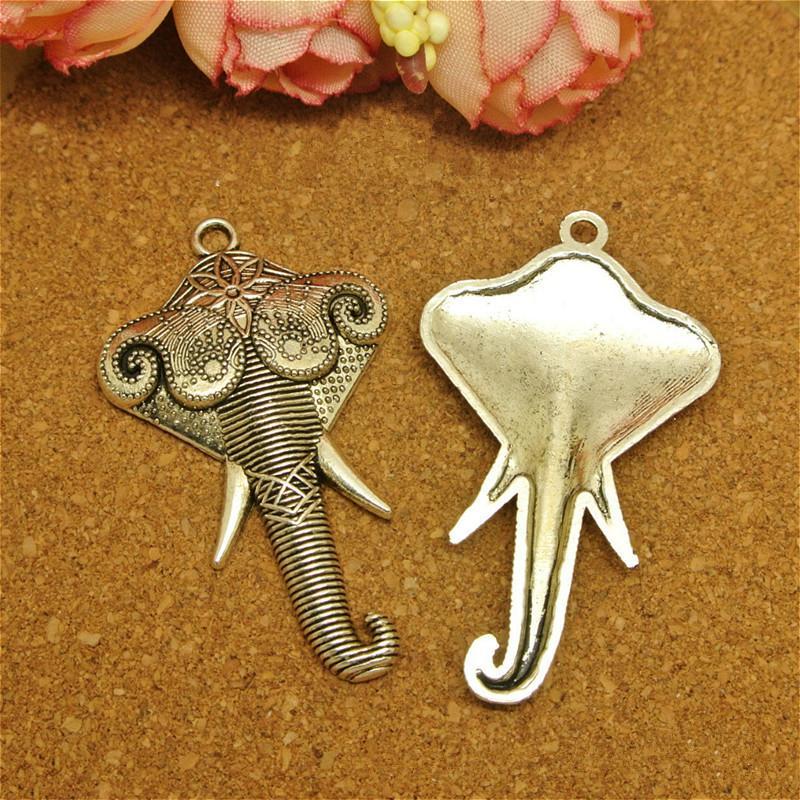 10 pcs Vintage Antique Bronze Argent Alliage de Zinc éléphant tête Charmes Pendentif Fit Bijoux À La Main DIY 44 * 26 MM