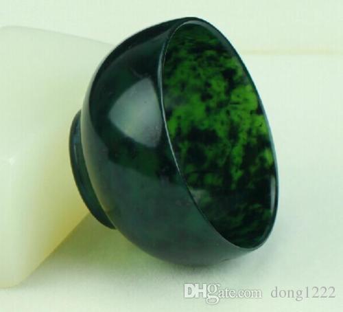 Cuenco de jade verde oscuro natural 100% chino