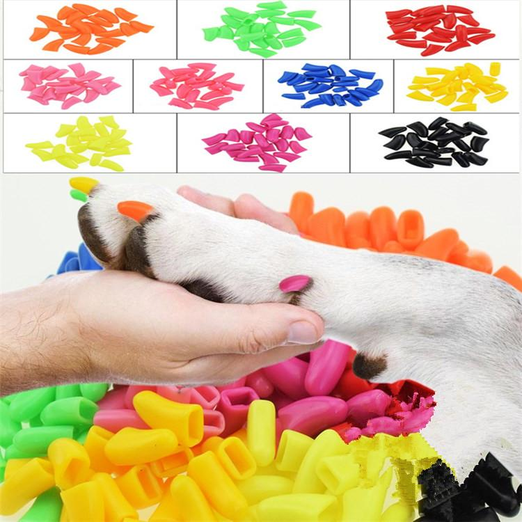 10sets/lot Colorful Cats Dogs Kitten Paws Grooming Claw Adhesive Glue Soft silica gel Pet Nail Cover/Paws Caps Nail Care T2I308