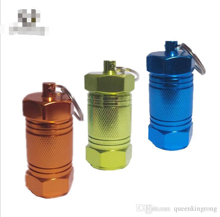 알루미늄 합금 알약 상자 케이스 병 홀더 컨테이너 키 체인 방수 저장 밀폐 실린더 스 태쉬 6 색상 선택 크기 30 * 70 미리 메터