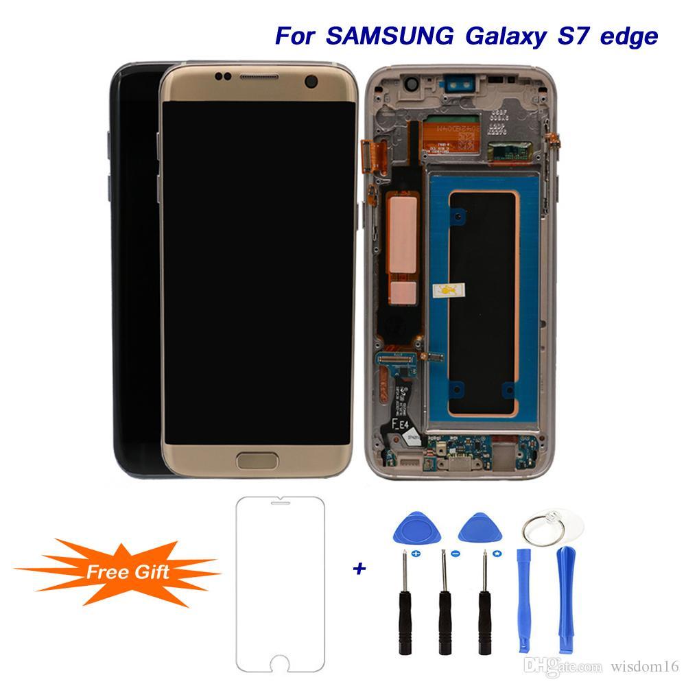 Samsung Galaxy S7 kenar 5.5 '' Süper AMOLED LCD'ler Değiştirme G935 G935F Onarım Araçları için En Iyi LCD Ekran Digitizer Meclisi