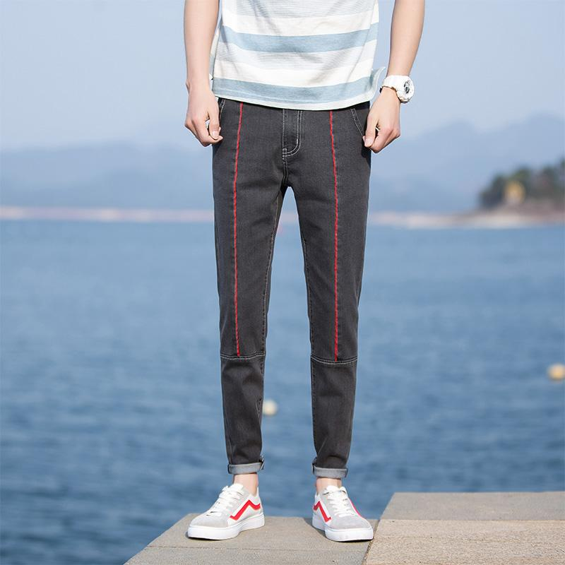 Fashion Style 2018 Spring and Summer Mens New Casual Large Size Elastic Waist Pants Nine Pants